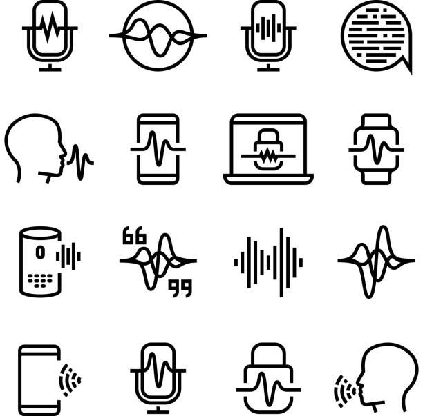 stockillustraties, clipart, cartoons en iconen met stem en spraak erkenning, cellulair netwerk vector iconen. mic opdracht en hoorzitting symbolen - kleurtoon