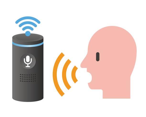 stimme hilfe systemdiagramm konzept, spracherkennung, voice recognizer - assistent stock-grafiken, -clipart, -cartoons und -symbole