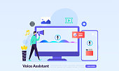 istock Voice Assistant concept, computer screen with sound wave intelligent technologies,technology for personal identity recognition and access authentication, flat icon,suitable for web landing page, banner, vector template 1294081841