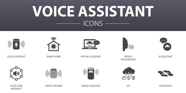 voice assistant simple concept icons set. Contains such icons as smart home, voice user interface, smart speaker, IOT and more, can be used for web, logo, UI/UX voice assistant simple concept icons set. Contains such icons as smart home, voice user interface, smart speaker, IOT and more, can be used for web, logo, UI/UX speech recognition stock illustrations