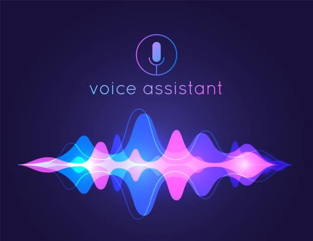 illustrazioni stock, clip art, cartoni animati e icone di tendenza di voice assistant sound wave. microphone voice control technology, voice and sound recognition. vector ai assistant background - voce