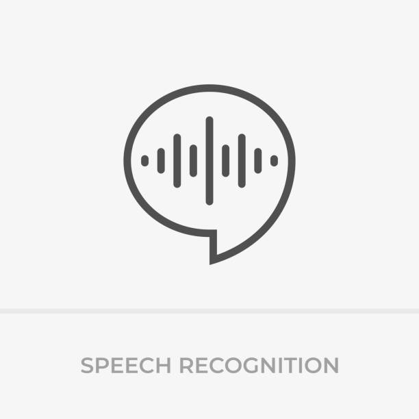 Voice command control. Voice recognition icon. Speech bubble and sound wave with imitation of voice. Voice command control. Voice recognition icon. Speech bubble and sound wave with imitation of voice. speech recognition stock illustrations