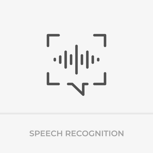 Voice command control. Voice recognition icon. Speech bubble capture and sound wave with imitation of voice. Voice command control. Voice recognition icon. Speech bubble capture and sound wave with imitation of voice. speech recognition stock illustrations