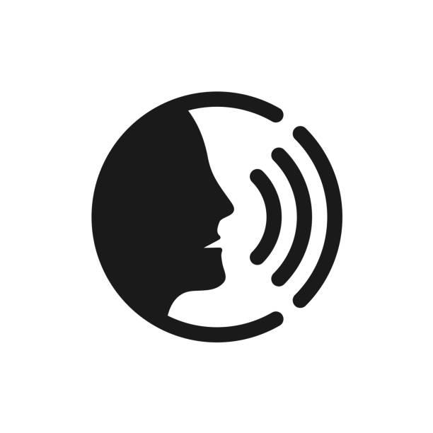 illustrazioni stock, clip art, cartoni animati e icone di tendenza di voice command control with sound waves icon - voce
