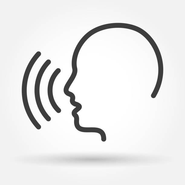 ilustrações, clipart, desenhos animados e ícones de ícone de controle de voz - cabeça
