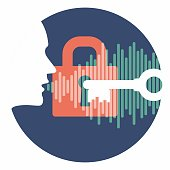 voice authentication system vector logo or symbol. profile head speaking password with key over lock and soundwave in dark blue circle. system security logo