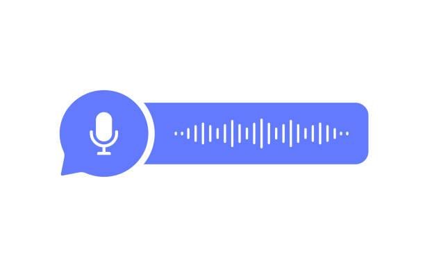 illustrazioni stock, clip art, cartoni animati e icone di tendenza di icona a bolle dei messaggi vocali con onda sonora e microfono. corrispondenza di messaggistica vocale. illustrazione vettoriale in stile piatto moderna - video call