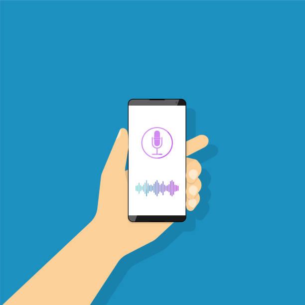 illustrazioni stock, clip art, cartoni animati e icone di tendenza di voice recognition, a man holds in his hand a smartphone. - voce