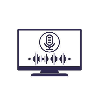 voice recognition in tv, vector icon