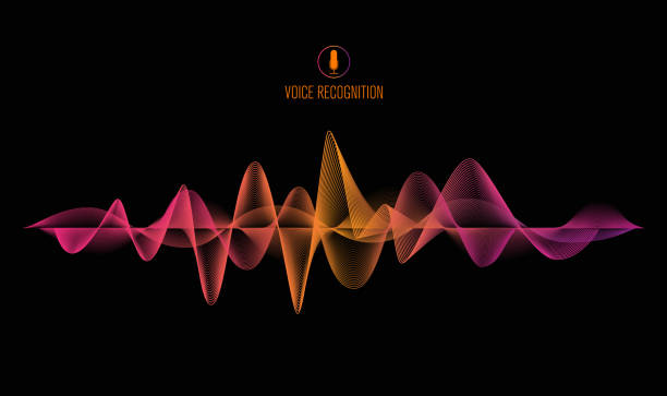 voice recognition system concept banner. Smartphone with sound wave, vector illustration vector art illustration