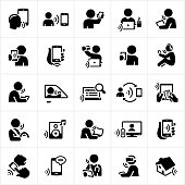 A set of icons related to voice recognition technology. The icons include people using their voice to interact with smartphones, tablet PCs, laptops, computers, vehicle technology, music players, search engines, smart televisions and other devices. With the rise of voice automation technologies consumers and workers are, and will be able to, perform a multitude of tasks.