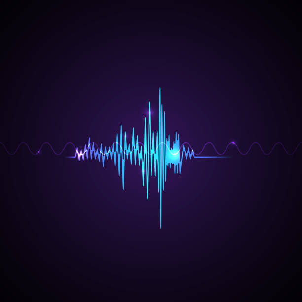 Voice recognition Vector illustration A sound symbol Abstract neon sound waves on violet background speech recognition stock illustrations