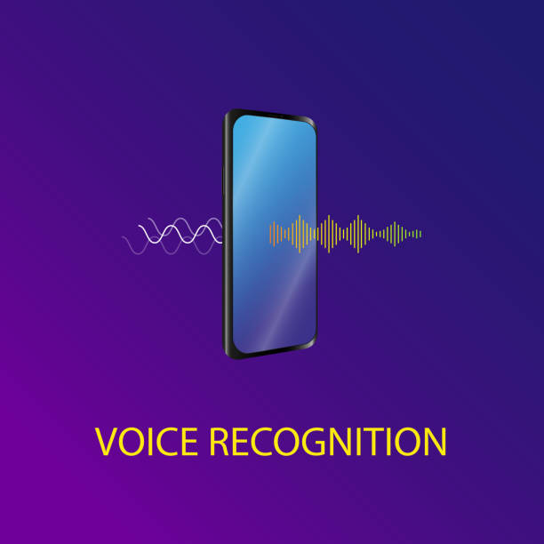 Voice recognition Vector illustration A sound symbol The sound wave is passing through the mobile phone and converted to speech speech recognition stock illustrations