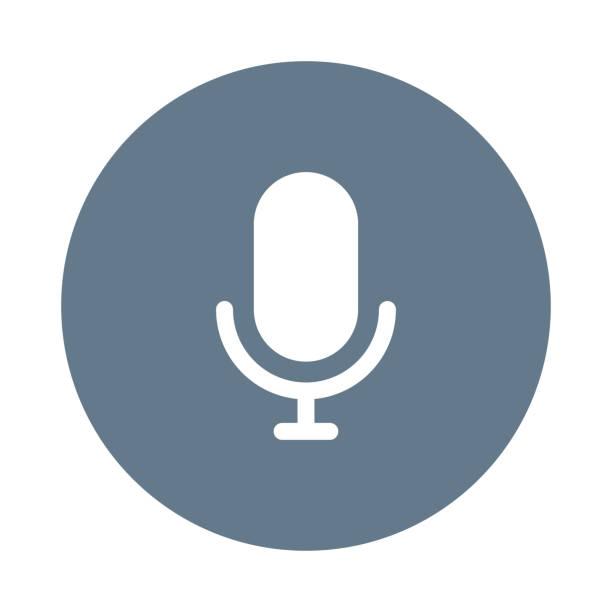 voice recorder glyph flat circle icon voice recorder glyph flat circle icon speech recognition stock illustrations