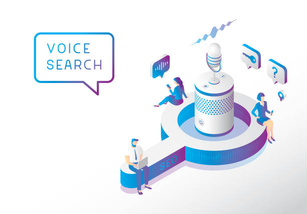 Voice search optimization Editable vector illustration on layers.  This is an AI EPS 10 file format, with gradients and transparency effects. speech recognition stock illustrations