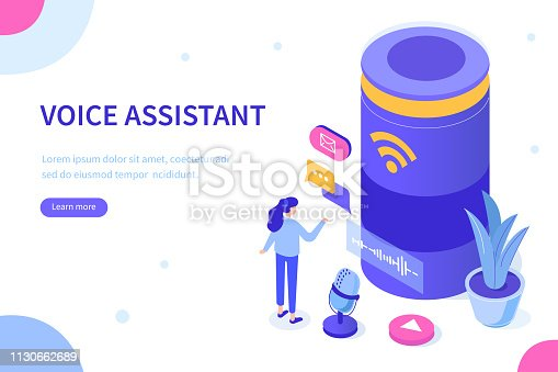Voice assistance concept. Can use for web banner, infographics, hero images. Flat isometric vector illustration isolated on white background.