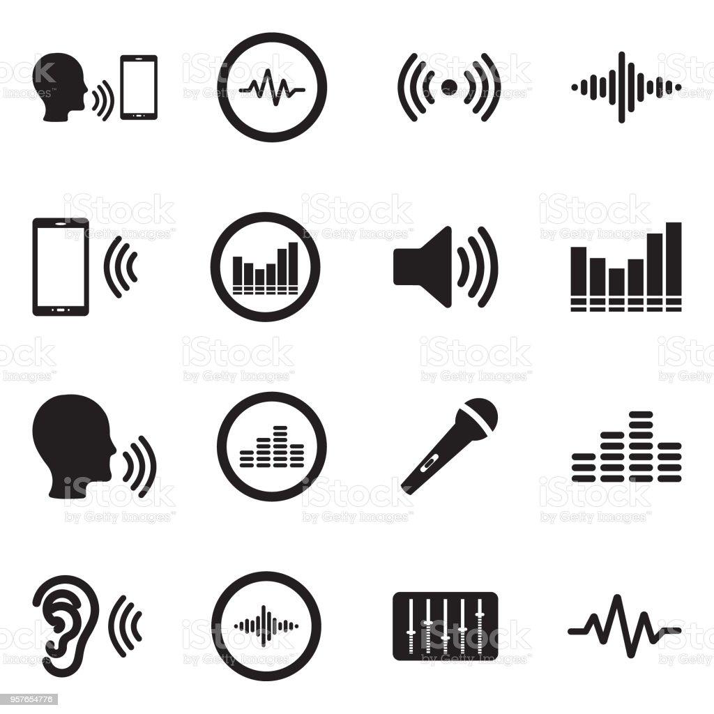 Voiceover のアイコン。黒のフラット デザイン。ベクトルの図。 - つながりのロイヤリティフリーベクトルアート