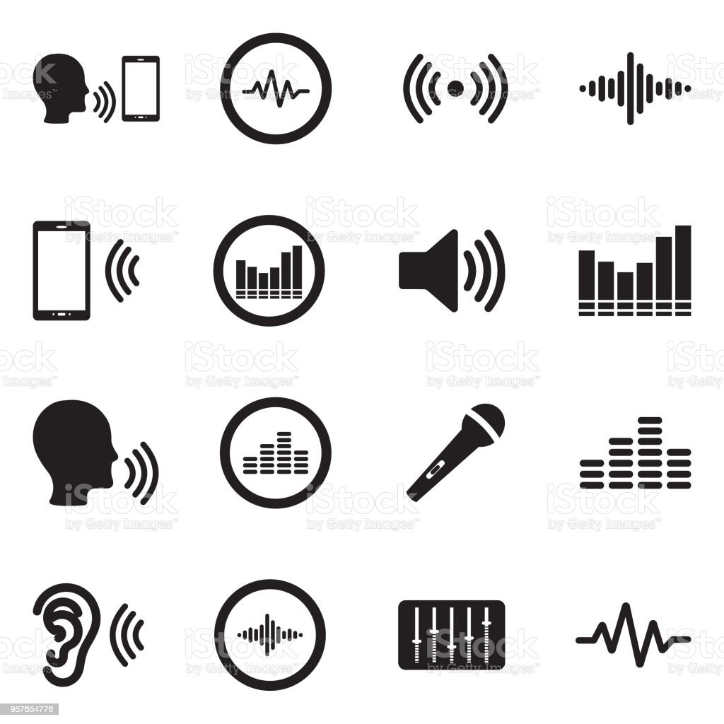 Voiceover Icons. Black Flat Design. Vector Illustration. vector art illustration