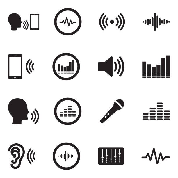 voiceover icons. black flat design. vector illustration. - hałas stock illustrations