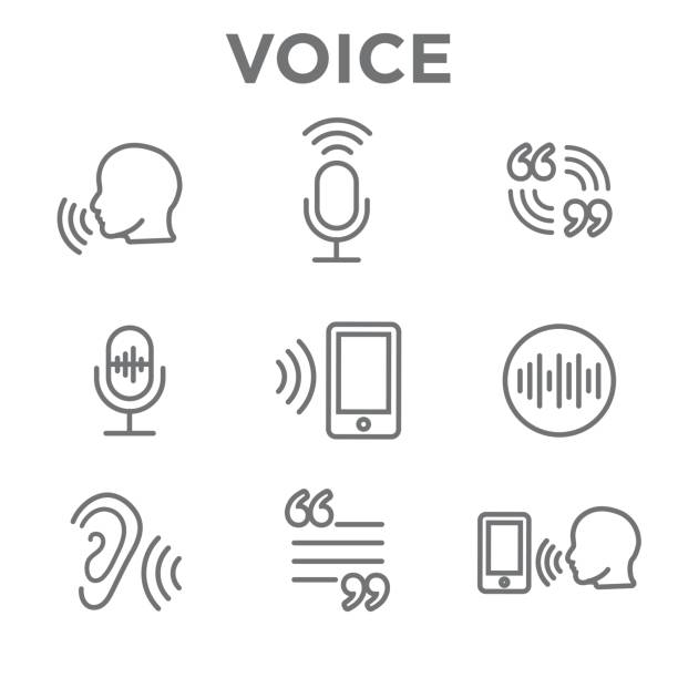 Voiceover or Voice Command Icon with Sound Wave Images Voiceover or Voice Command Icon with Sound Wave Images Set speech recognition stock illustrations