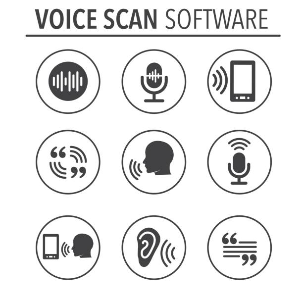 Voiceover or Voice Command Icon with Sound Wave Images Voiceover or Voice Command Icon with Sound Wave Images Set - solid speech recognition stock illustrations