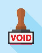 Vector illustration of a void stamp against a blue background in flat style.