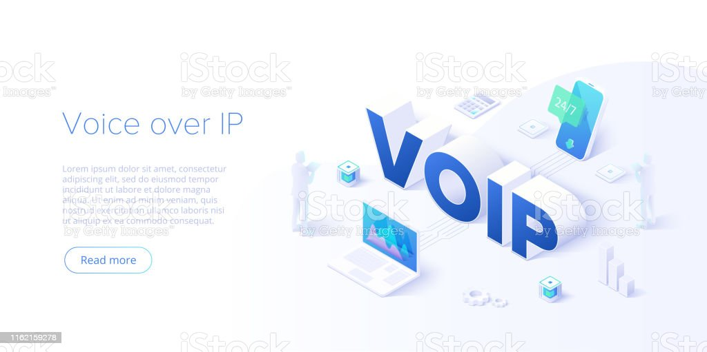 Voip isometric vector concept illustration. Voice over IP or internet...