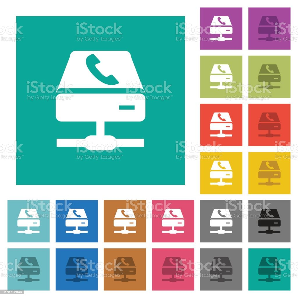 VoIP services square flat multi colored icons 免版稅 voip services square flat multi colored icons 向量插圖及更多 互聯網 圖片