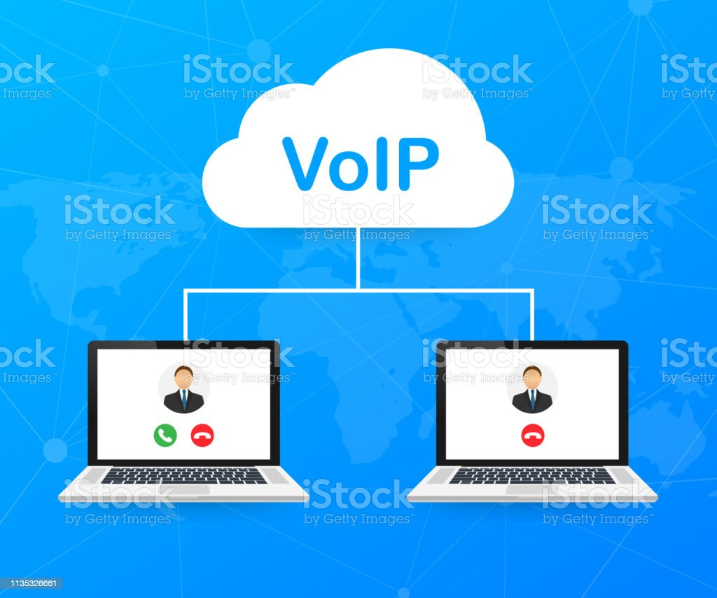 VoIP technology, voice over IP. Internet calling banner. Vector stock...