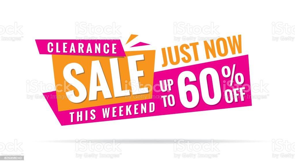 40bde6d0319 3.2 Clearance Sale pink orange 60 percent heading design for banner or  poster.