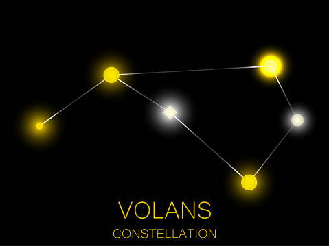 Volans constellation. Bright yellow stars in the night sky. A cluster of stars in deep space, the universe. Vector illustration