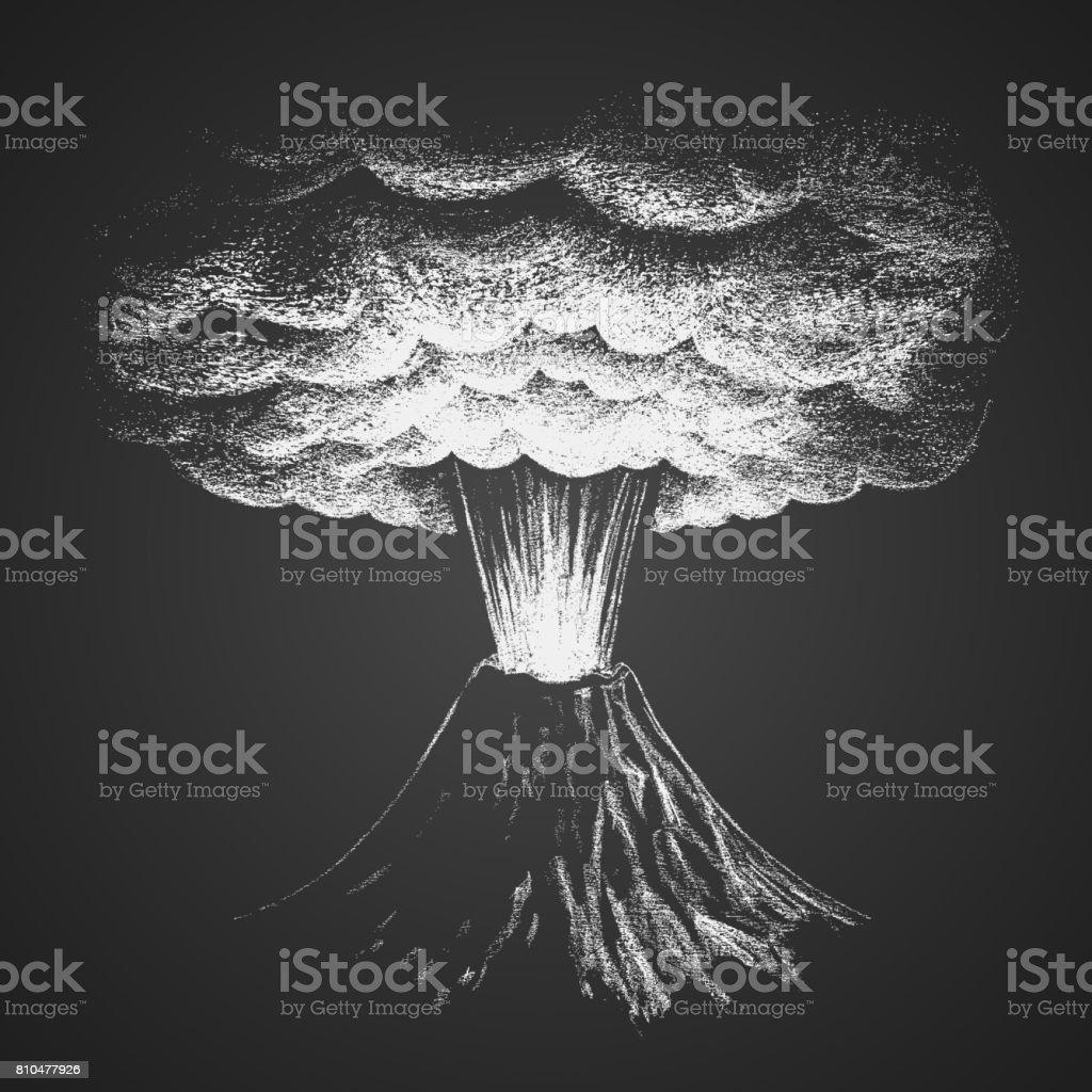 Volcanic eruption. Chalk drawing