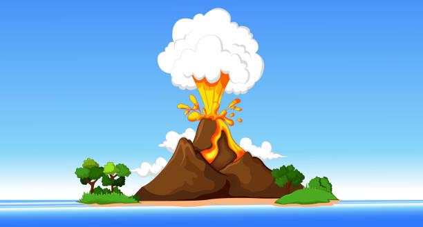 vulkanausbruch hintergrund mit strand - vulkane stock-grafiken, -clipart, -cartoons und -symbole