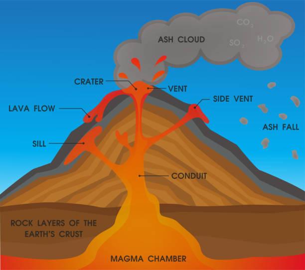 Volcano anatomy diagram. Vector Illustration. Volcano anatomy diagram. Vector Illustration. volcano stock illustrations