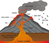 Volcano anatomy diagram. Vector Illustration.