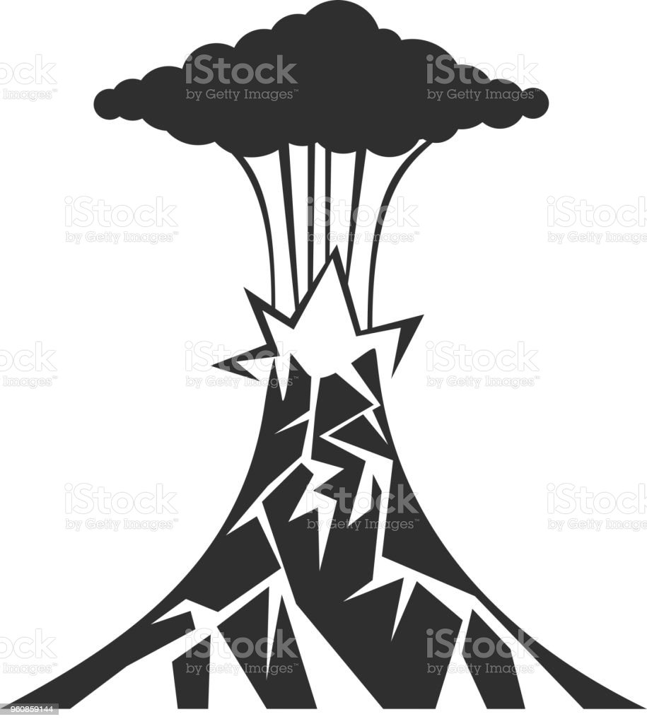 Volcano black icon on white background vector illustration illustration