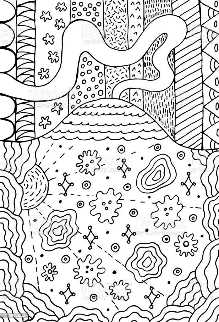 Coloriage Adulte Volcan.Volcan Doodle Paysage Avec Prairie Florale Dessin De Montagne