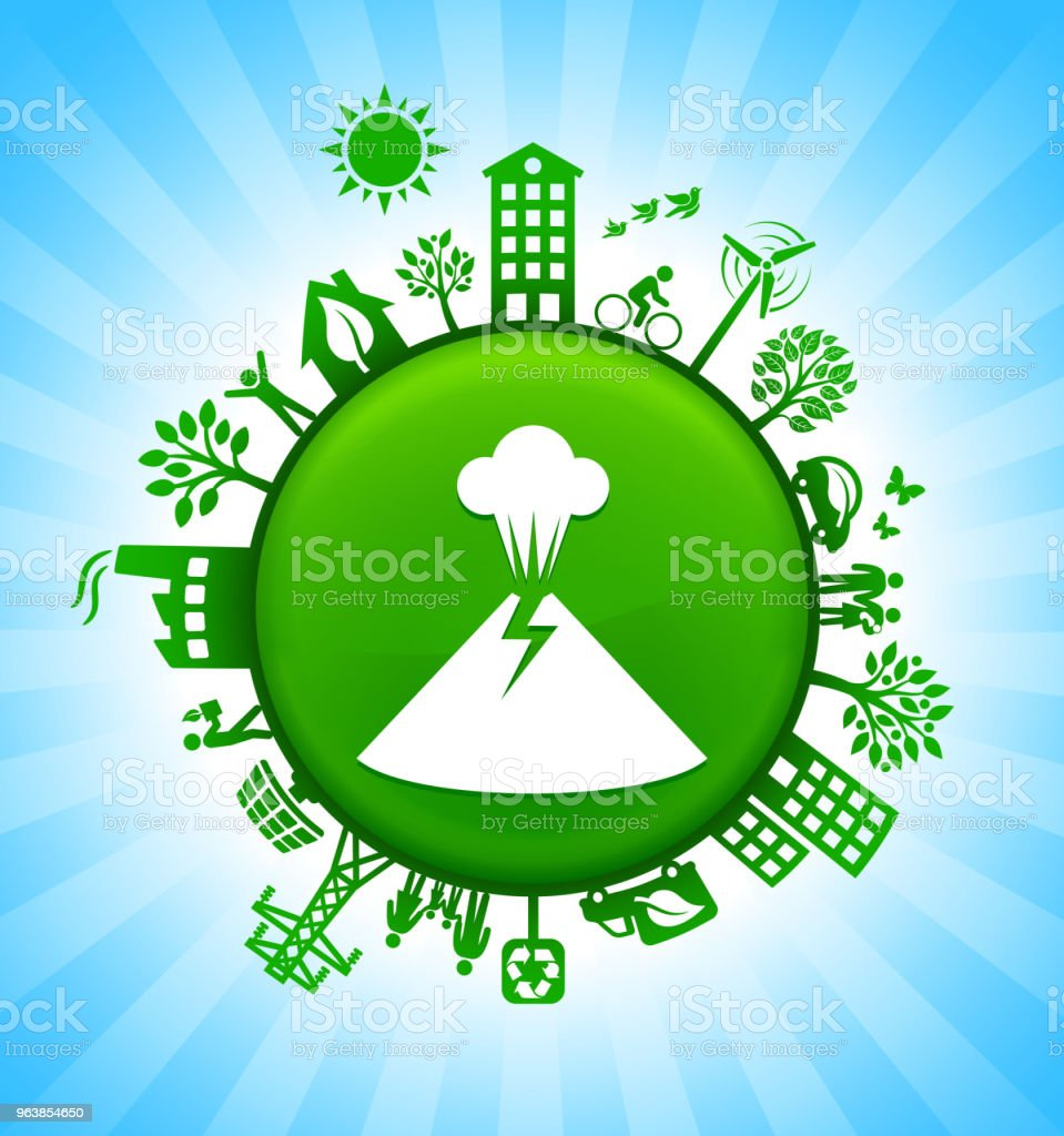 Volcano Environment Green Button Background on Blue Sky - Royalty-free Alternative Energy stock vector