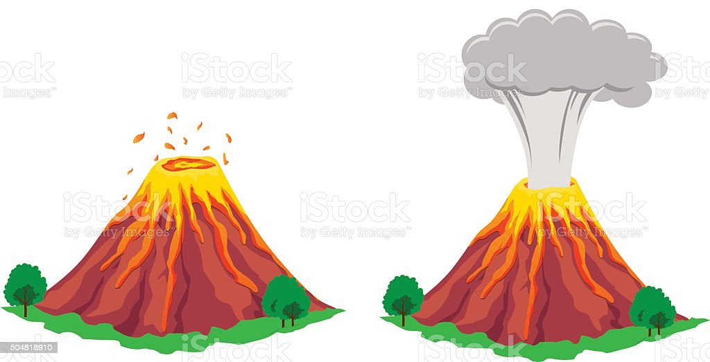 Volcano erupting vector art illustration
