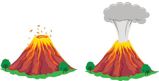 vulkan eruption - vulkane stock-grafiken, -clipart, -cartoons und -symbole