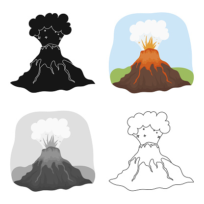 Volcano eruption icon in cartoon style isolated on white background. Dinosaurs and prehistoric symbol stock vector illustration web