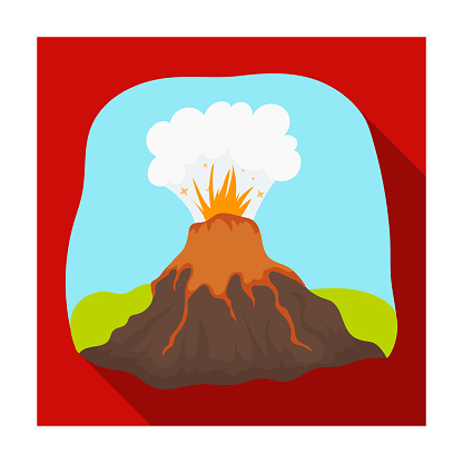 Volcano eruption icon in flat style isolated on white background. Dinosaurs and prehistoric symbol stock web vector illustration.