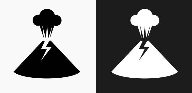vulkan-ausbruch-symbol auf schwarz-weiß-vektor-hintergründe - vulkane stock-grafiken, -clipart, -cartoons und -symbole