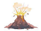 Volcano eruption illustration isolated