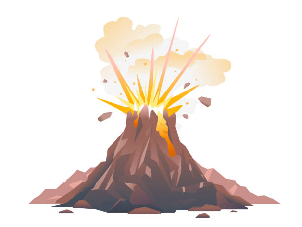 Volcano eruption illustration isolated One big brown volcano with explosion and smoke, volcano eruption of orange lava flows down the hill and stones flying in the air, isolated disgorge stock illustrations