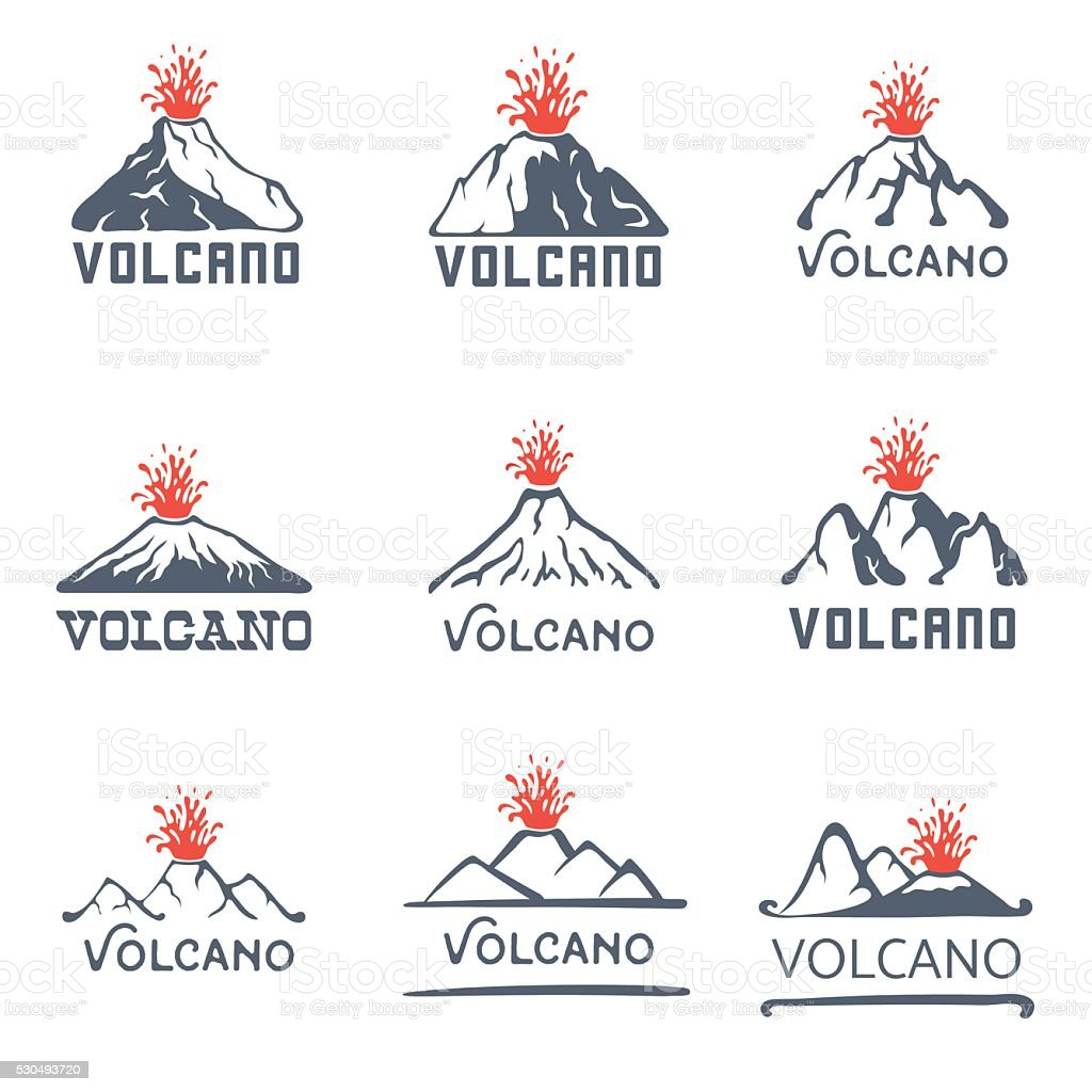 Volcano eruption logo set, vector icons illustration on white background vector art illustration