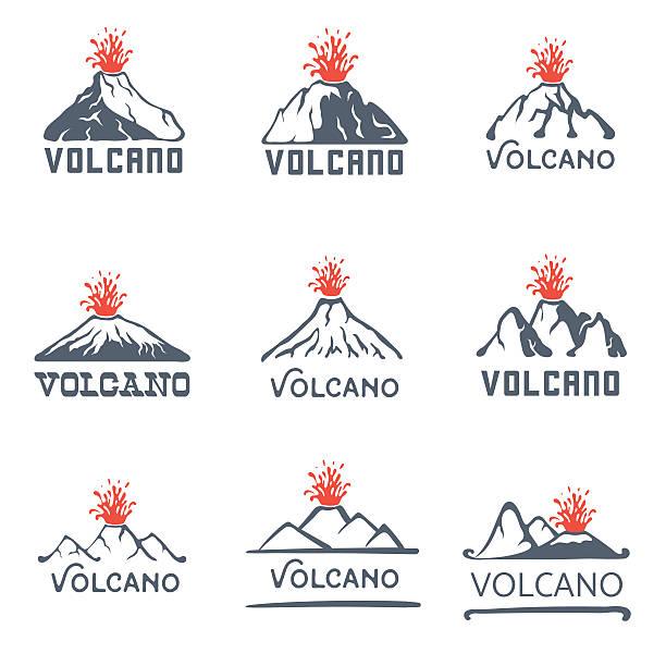vulkan vulkanausbruch logo-set, vektor-icons abbildung auf weißem hintergrund - vulkane stock-grafiken, -clipart, -cartoons und -symbole