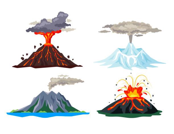 stockillustraties, clipart, cartoons en iconen met vulkaanuitbarsting ingesteld met magma, rook, as geïsoleerd op een witte achtergrond. uitbarsting van de hete lava van vulkanische activiteit, slapen en uitbarstende vulkanen - platte vectorillustratie - vulkaanlandschap