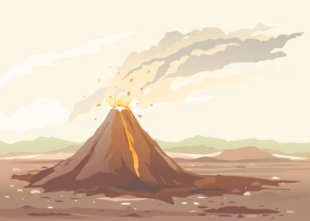 Volcano Eruption Volcano eruption of orange lava flows down the hill and stones flying in the air, nature disaster deserted place without water and without plants, climate change concept illustration disgorge stock illustrations