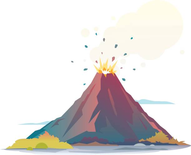 Volcano Eruption Volcano eruption disgorge lava and smoke, isolated disgorge stock illustrations